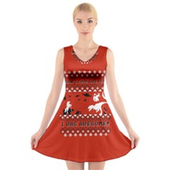 I Wasn t Good This Year, I Was Awesome! Ugly Holiday Christmas Red Background V-Neck Sleeveless Skater Dress