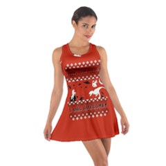 I Wasn t Good This Year, I Was Awesome! Ugly Holiday Christmas Red Background Cotton Racerback Dress