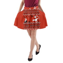 I Wasn t Good This Year, I Was Awesome! Ugly Holiday Christmas Red Background A-Line Pocket Skirt