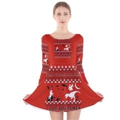 I Wasn t Good This Year, I Was Awesome! Ugly Holiday Christmas Red Background Long Sleeve Velvet Skater Dress