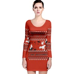 I Wasn t Good This Year, I Was Awesome! Ugly Holiday Christmas Red Background Long Sleeve Velvet Bodycon Dress
