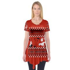 I Wasn t Good This Year, I Was Awesome! Ugly Holiday Christmas Red Background Short Sleeve Tunic