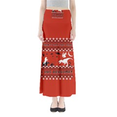 I Wasn t Good This Year, I Was Awesome! Ugly Holiday Christmas Red Background Maxi Skirts