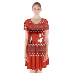 I Wasn t Good This Year, I Was Awesome! Ugly Holiday Christmas Red Background Short Sleeve V-neck Flare Dress