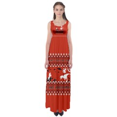 I Wasn t Good This Year, I Was Awesome! Ugly Holiday Christmas Red Background Empire Waist Maxi Dress