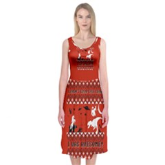 I Wasn t Good This Year, I Was Awesome! Ugly Holiday Christmas Red Background Midi Sleeveless Dress