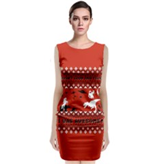 I Wasn t Good This Year, I Was Awesome! Ugly Holiday Christmas Red Background Classic Sleeveless Midi Dress
