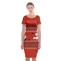 I Wasn t Good This Year, I Was Awesome! Ugly Holiday Christmas Red Background Classic Short Sleeve Midi Dress