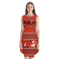 I Wasn t Good This Year, I Was Awesome! Ugly Holiday Christmas Red Background Sleeveless Chiffon Dress