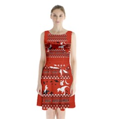 I Wasn t Good This Year, I Was Awesome! Ugly Holiday Christmas Red Background Sleeveless Chiffon Waist Tie Dress