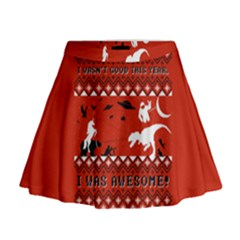I Wasn t Good This Year, I Was Awesome! Ugly Holiday Christmas Red Background Mini Flare Skirt