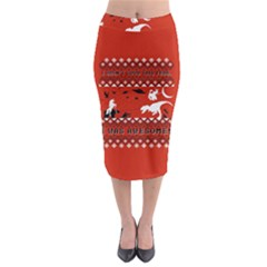 I Wasn t Good This Year, I Was Awesome! Ugly Holiday Christmas Red Background Midi Pencil Skirt