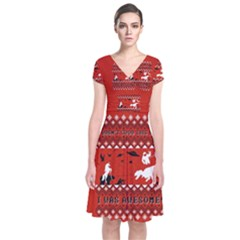 I Wasn t Good This Year, I Was Awesome! Ugly Holiday Christmas Red Background Short Sleeve Front Wrap Dress