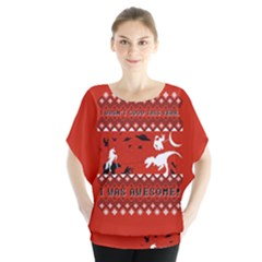 I Wasn t Good This Year, I Was Awesome! Ugly Holiday Christmas Red Background Blouse