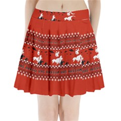 I Wasn t Good This Year, I Was Awesome! Ugly Holiday Christmas Red Background Pleated Mini Skirt