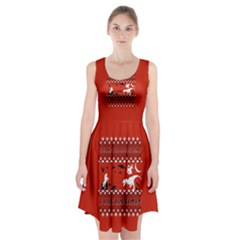 I Wasn t Good This Year, I Was Awesome! Ugly Holiday Christmas Red Background Racerback Midi Dress