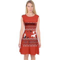 I Wasn t Good This Year, I Was Awesome! Ugly Holiday Christmas Red Background Capsleeve Midi Dress
