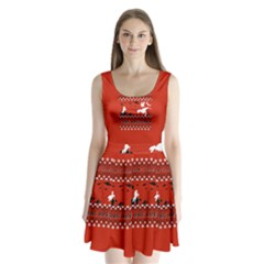 I Wasn t Good This Year, I Was Awesome! Ugly Holiday Christmas Red Background Split Back Mini Dress