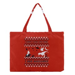 I Wasn t Good This Year, I Was Awesome! Ugly Holiday Christmas Red Background Medium Tote Bag
