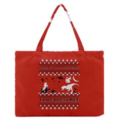 I Wasn t Good This Year, I Was Awesome! Ugly Holiday Christmas Red Background Medium Zipper Tote Bag