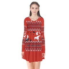 I Wasn t Good This Year, I Was Awesome! Ugly Holiday Christmas Red Background Flare Dress