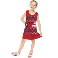 I Wasn t Good This Year, I Was Awesome! Ugly Holiday Christmas Red Background Kids  Tunic Dress