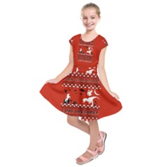 I Wasn t Good This Year, I Was Awesome! Ugly Holiday Christmas Red Background Kids  Short Sleeve Dress