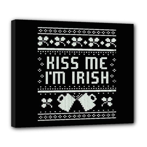 Kiss Me I m Irish Ugly Christmas Black Background Deluxe Canvas 24  X 20