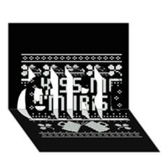 Kiss Me I m Irish Ugly Christmas Black Background GIRL 3D Greeting Card (7x5)