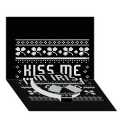 Kiss Me I m Irish Ugly Christmas Black Background Circle Bottom 3D Greeting Card (7x5)