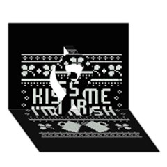 Kiss Me I m Irish Ugly Christmas Black Background Ribbon 3D Greeting Card (7x5)