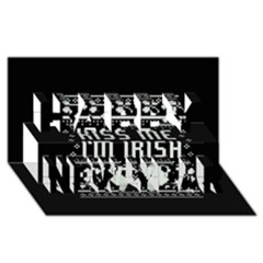Kiss Me I m Irish Ugly Christmas Black Background Happy New Year 3D Greeting Card (8x4)