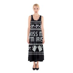 Kiss Me I m Irish Ugly Christmas Black Background Sleeveless Maxi Dress
