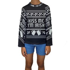 Kiss Me I m Irish Ugly Christmas Black Background Kids  Long Sleeve Swimwear