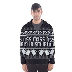 Kiss Me I m Irish Ugly Christmas Black Background Hooded Wind Breaker (Men)
