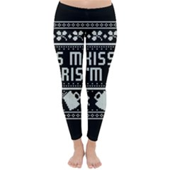 Kiss Me I m Irish Ugly Christmas Black Background Classic Winter Leggings