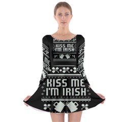 Kiss Me I m Irish Ugly Christmas Black Background Long Sleeve Skater Dress
