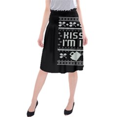 Kiss Me I m Irish Ugly Christmas Black Background Midi Beach Skirt