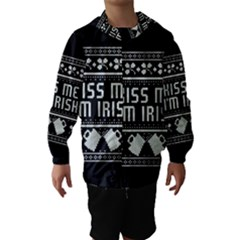 Kiss Me I m Irish Ugly Christmas Black Background Hooded Wind Breaker (Kids)