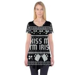 Kiss Me I m Irish Ugly Christmas Black Background Short Sleeve Tunic
