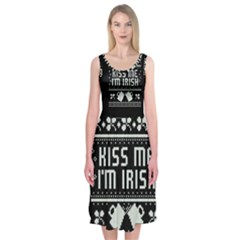Kiss Me I m Irish Ugly Christmas Black Background Midi Sleeveless Dress