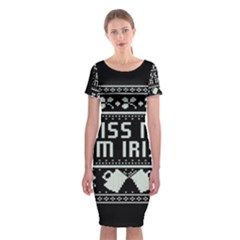 Kiss Me I m Irish Ugly Christmas Black Background Classic Short Sleeve Midi Dress