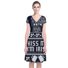 Kiss Me I m Irish Ugly Christmas Black Background Short Sleeve Front Wrap Dress