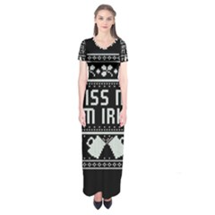 Kiss Me I m Irish Ugly Christmas Black Background Short Sleeve Maxi Dress