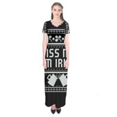 Kiss Me I m Irish Ugly Christmas Black Background Short Sleeve Maxi Dress