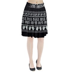 Kiss Me I m Irish Ugly Christmas Black Background Pleated Skirt