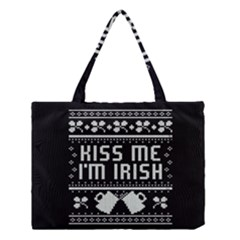 Kiss Me I m Irish Ugly Christmas Black Background Medium Tote Bag