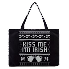 Kiss Me I m Irish Ugly Christmas Black Background Medium Zipper Tote Bag
