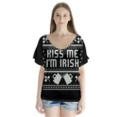 Kiss Me I m Irish Ugly Christmas Black Background Flutter Sleeve Top