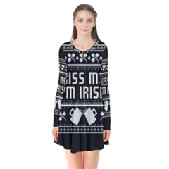 Kiss Me I m Irish Ugly Christmas Black Background Flare Dress